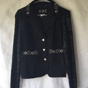 AMI suede sweater jack with metal ring decals